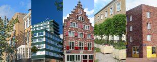 Vijf foto's van verschillende soorten panden in Amsterdam