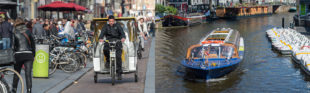 Een fietstaxi en een rondvaartboot in Amsterdam