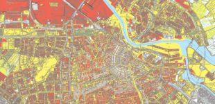 Afbeelding bij onderzoek over erfpacht. Kaart met erfpachtdelen in Amsterdam