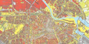 Kaart met erfpachtdelen in Amsterdam