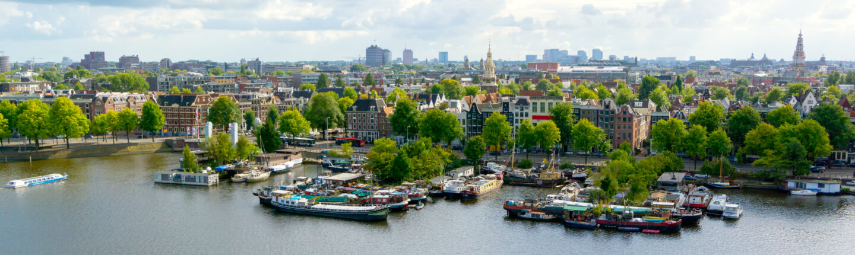 Groene bomen in de stad Amsterdam